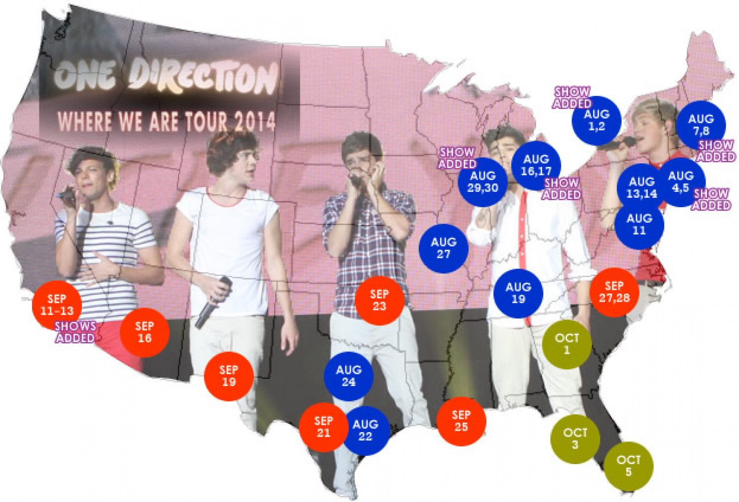 "One Direction ""Where We Are"" Tour Map Infographic"
