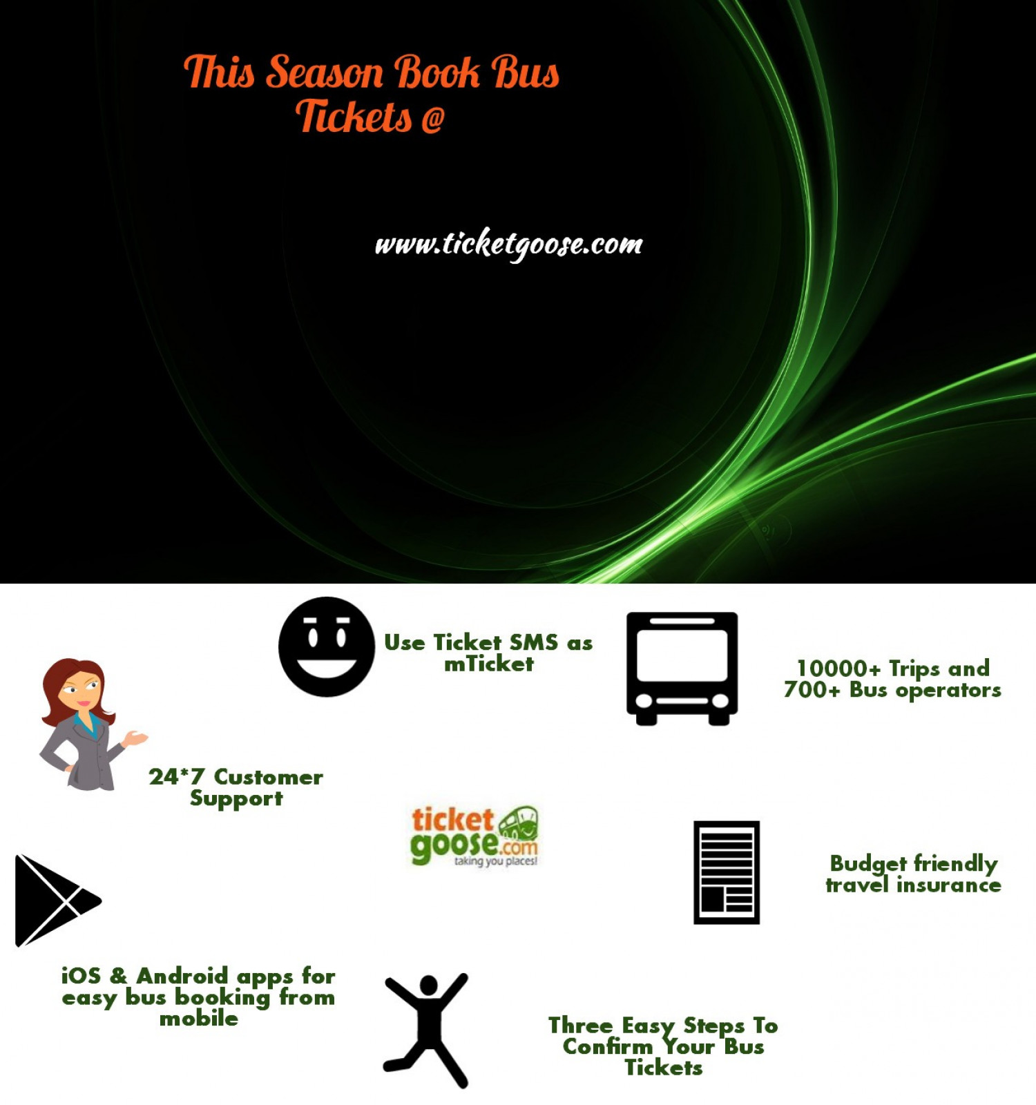 Online bus tickets booking Infographic
