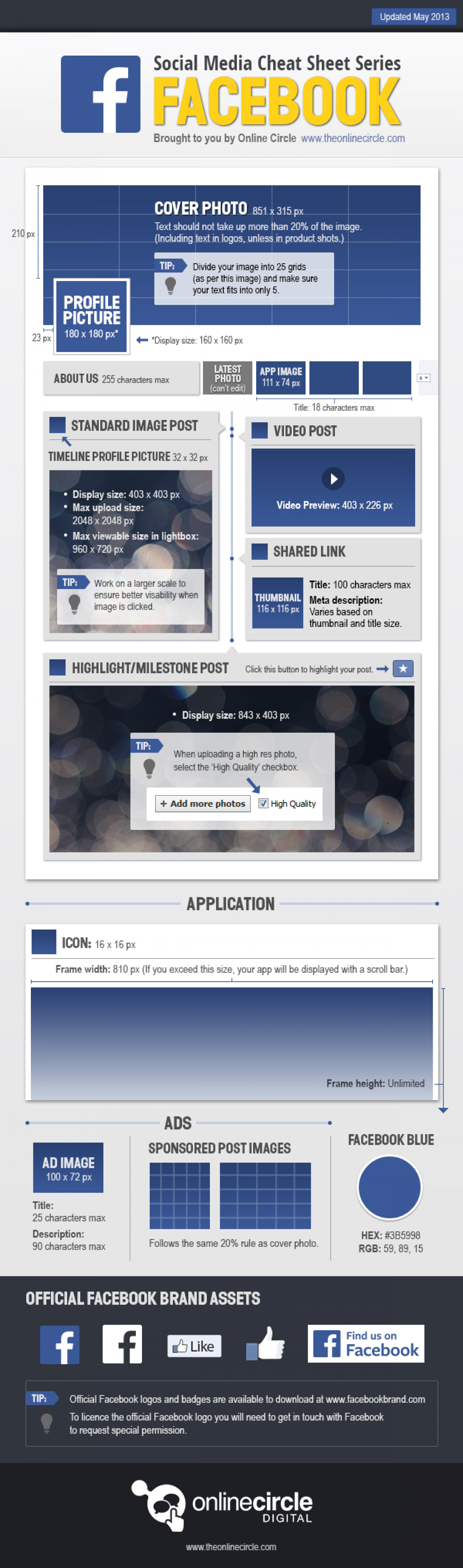 Online Circle Digital | Facebook Sizes and Dimensions Cheat Sheet 2013 Infographic