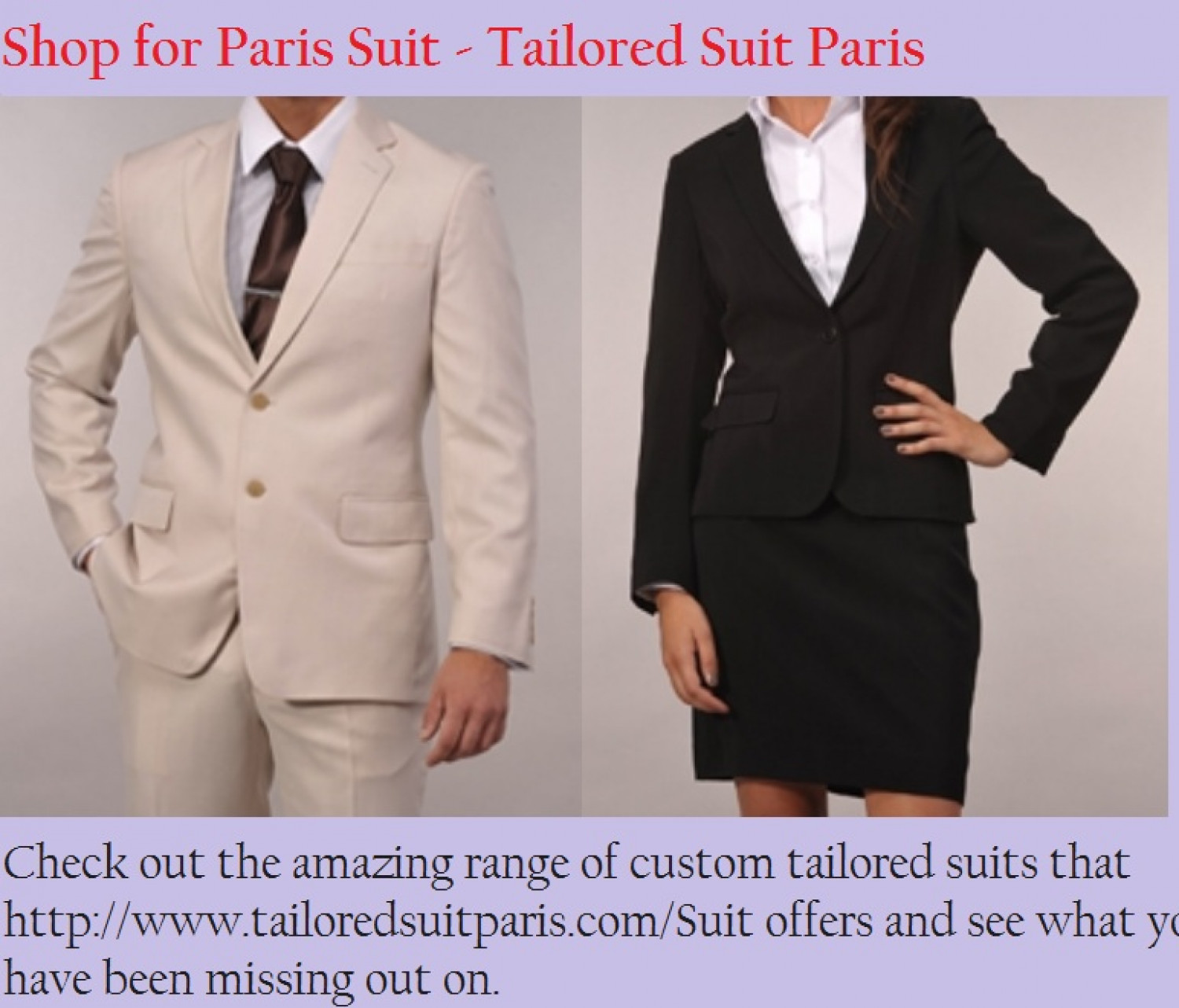 Online Tailor Made suits - www.tailoredsuitparis.com Infographic