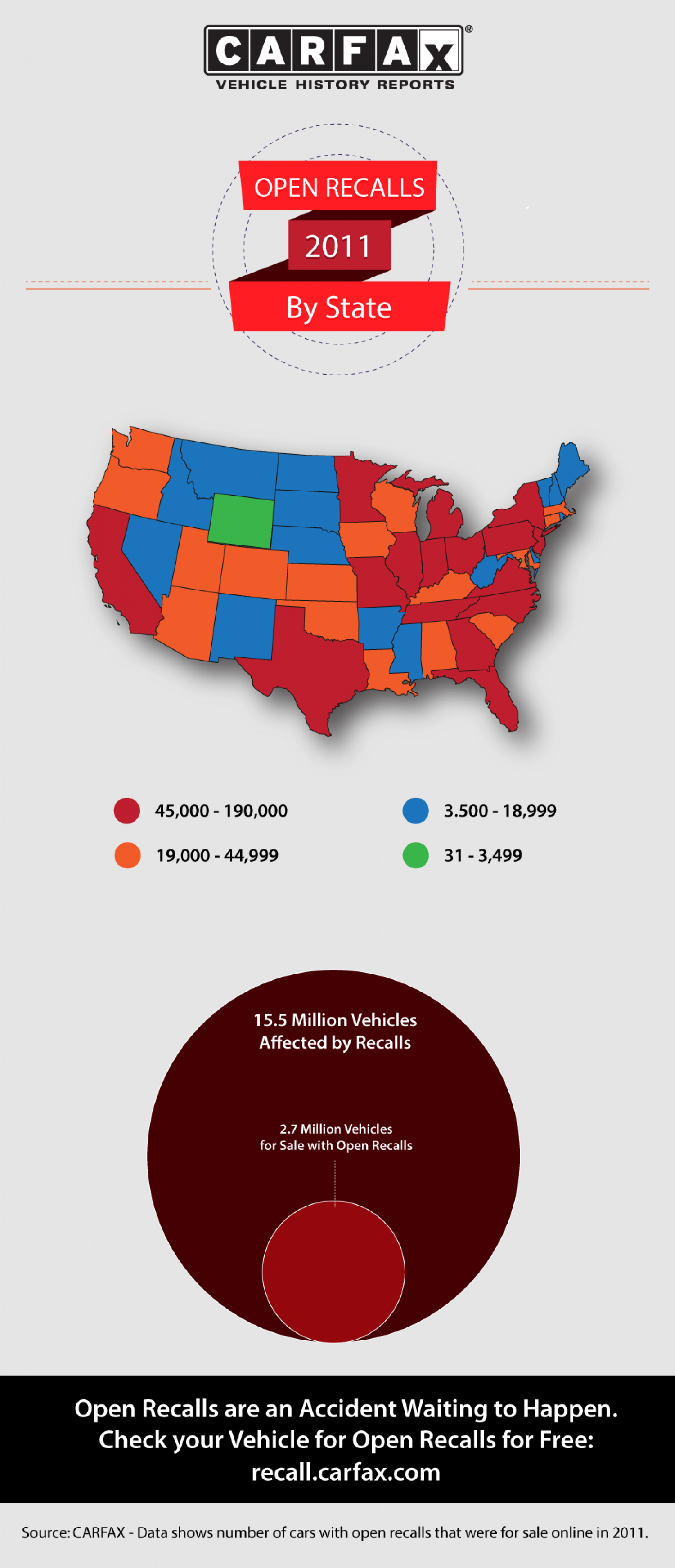 Open Recalls By State in Year 2011 Infographic
