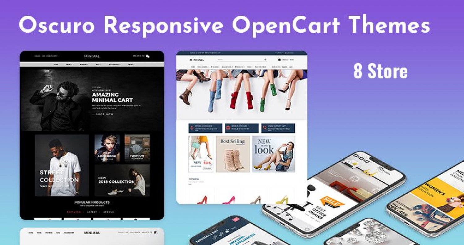 Opencart Template – Oscuro with 8+ Beautiful Online Store for Fashion, Furniture and Cosmetics Infographic