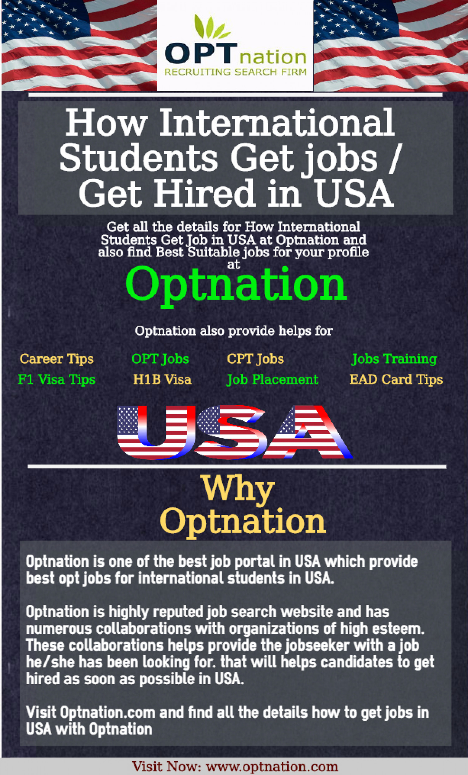 Opt jobs for international students in USA Infographic