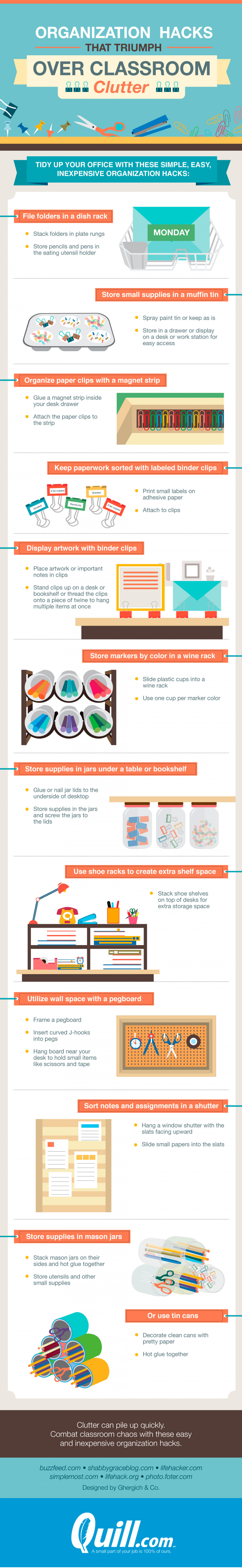 Organization Hacks That Triumph Over Classroom Clutter Infographic