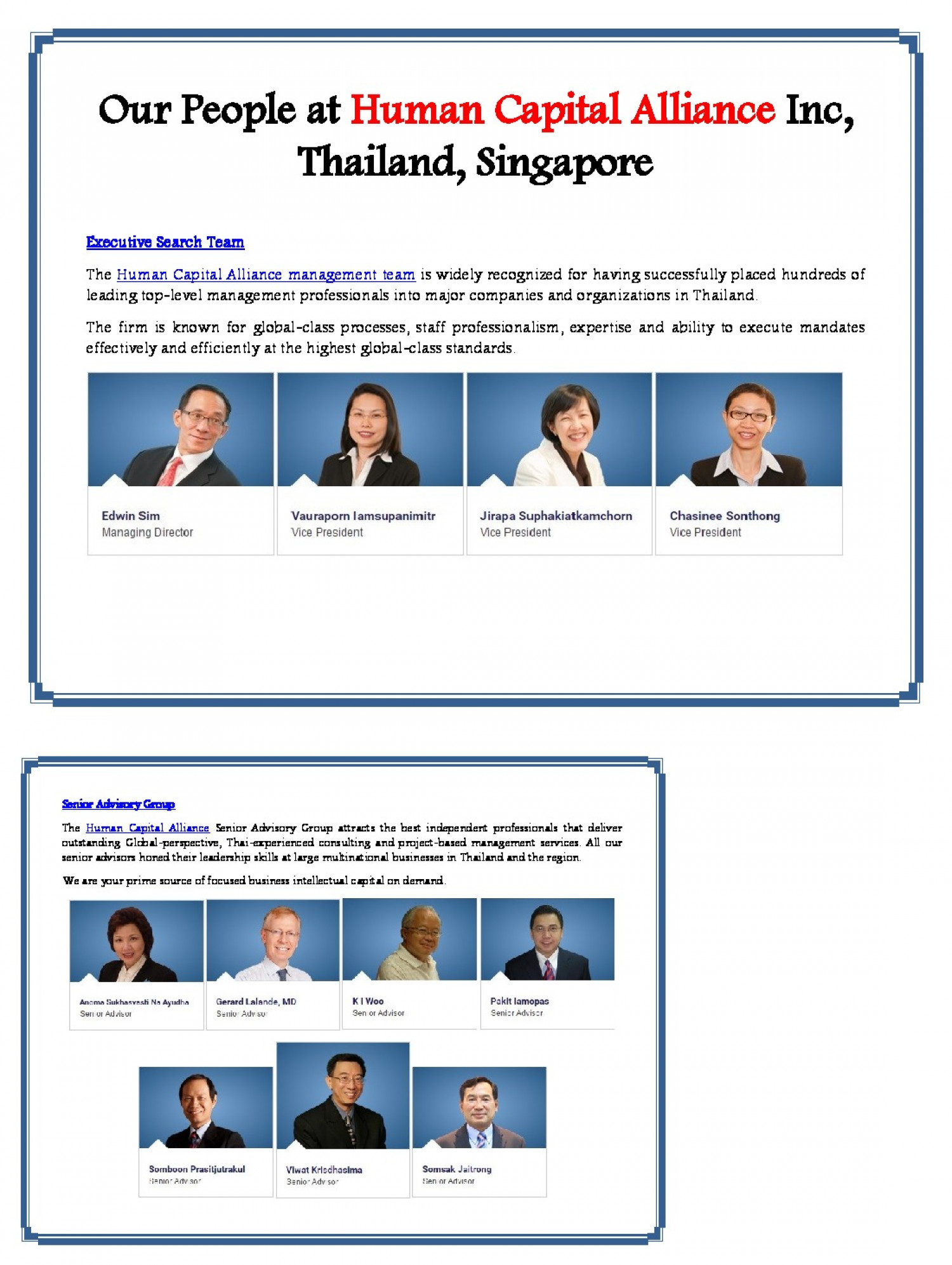 Our People at Human Capital Alliance Inc, Thailand, Singapore Infographic