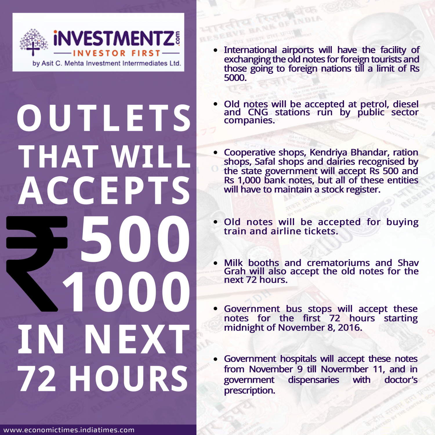 Outlets That Will Accepts 500 and 1000 in next 72 Hrs Infographic