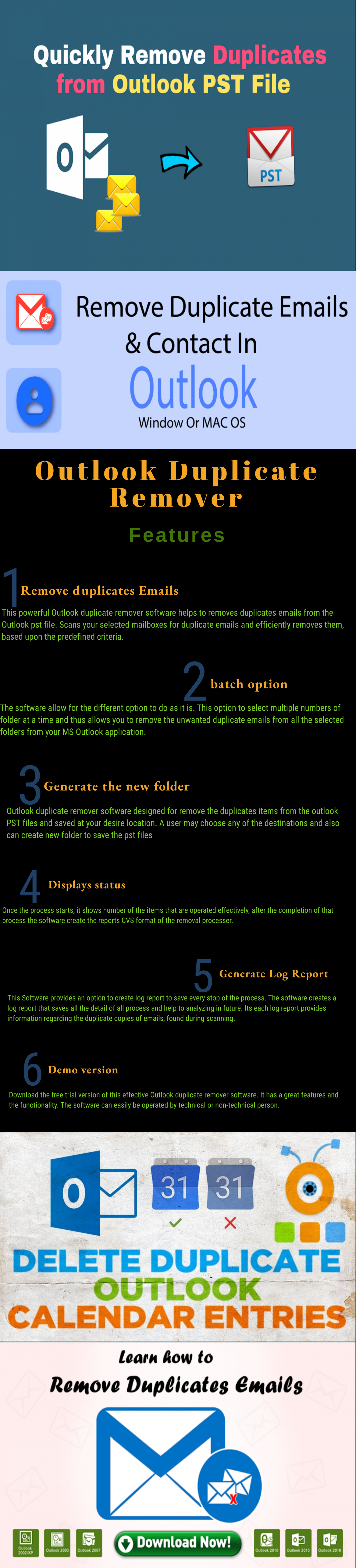 Outlook Duplicate Remover - Remove Duplicate PST files Infographic