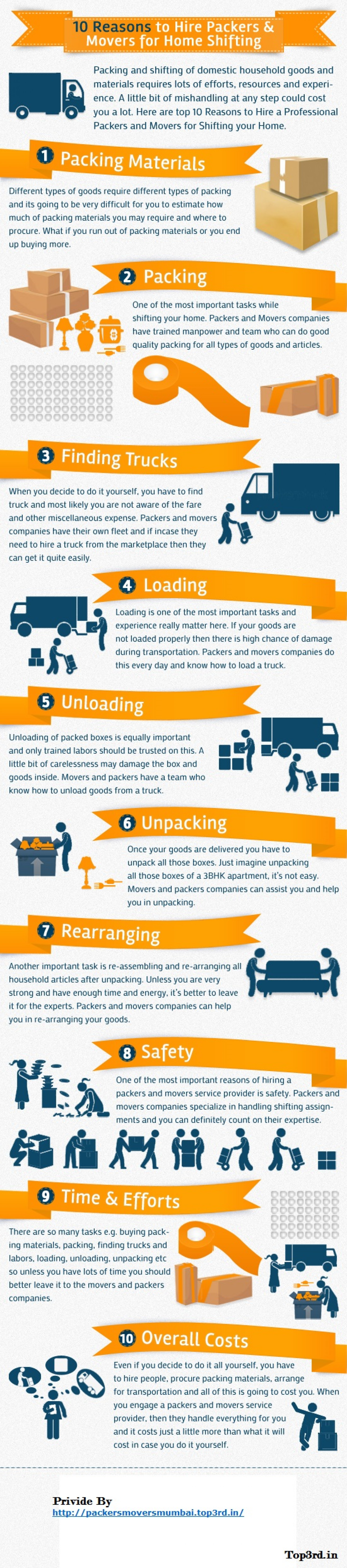 10 Reasons To Hire Packers & Movers For Home Shifting Infographic