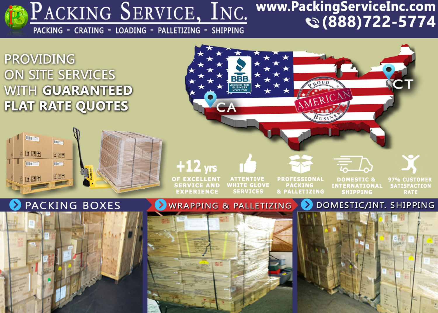 Packing Service, Inc. Swims through Shipping Recessions Infographic