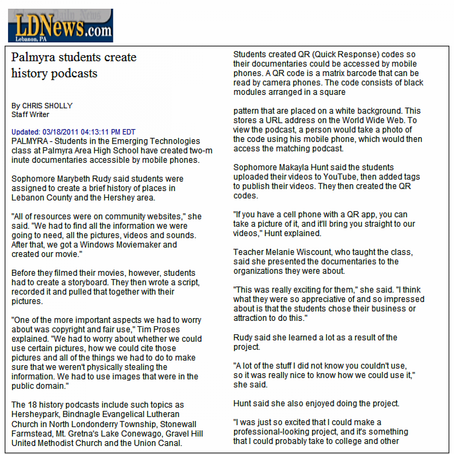 Palmyra Students Create History Podcasts Infographic