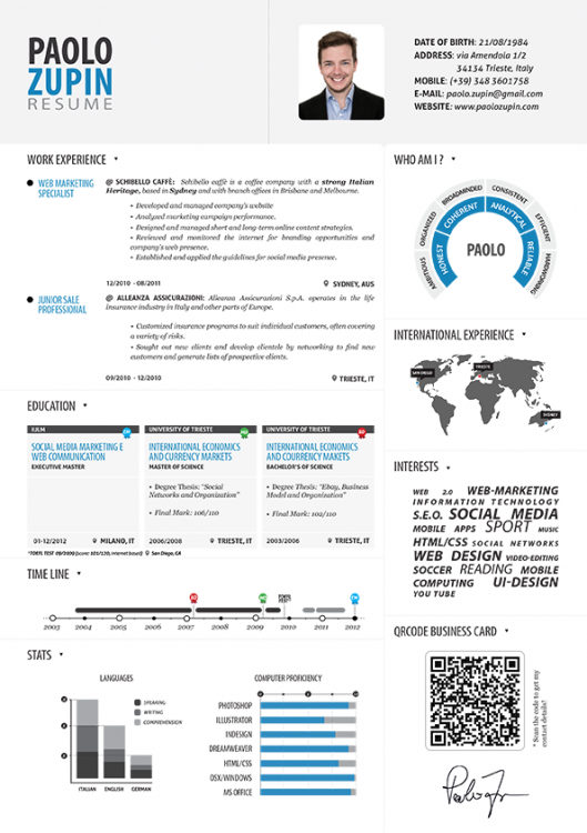 Visually  International Experience Resume