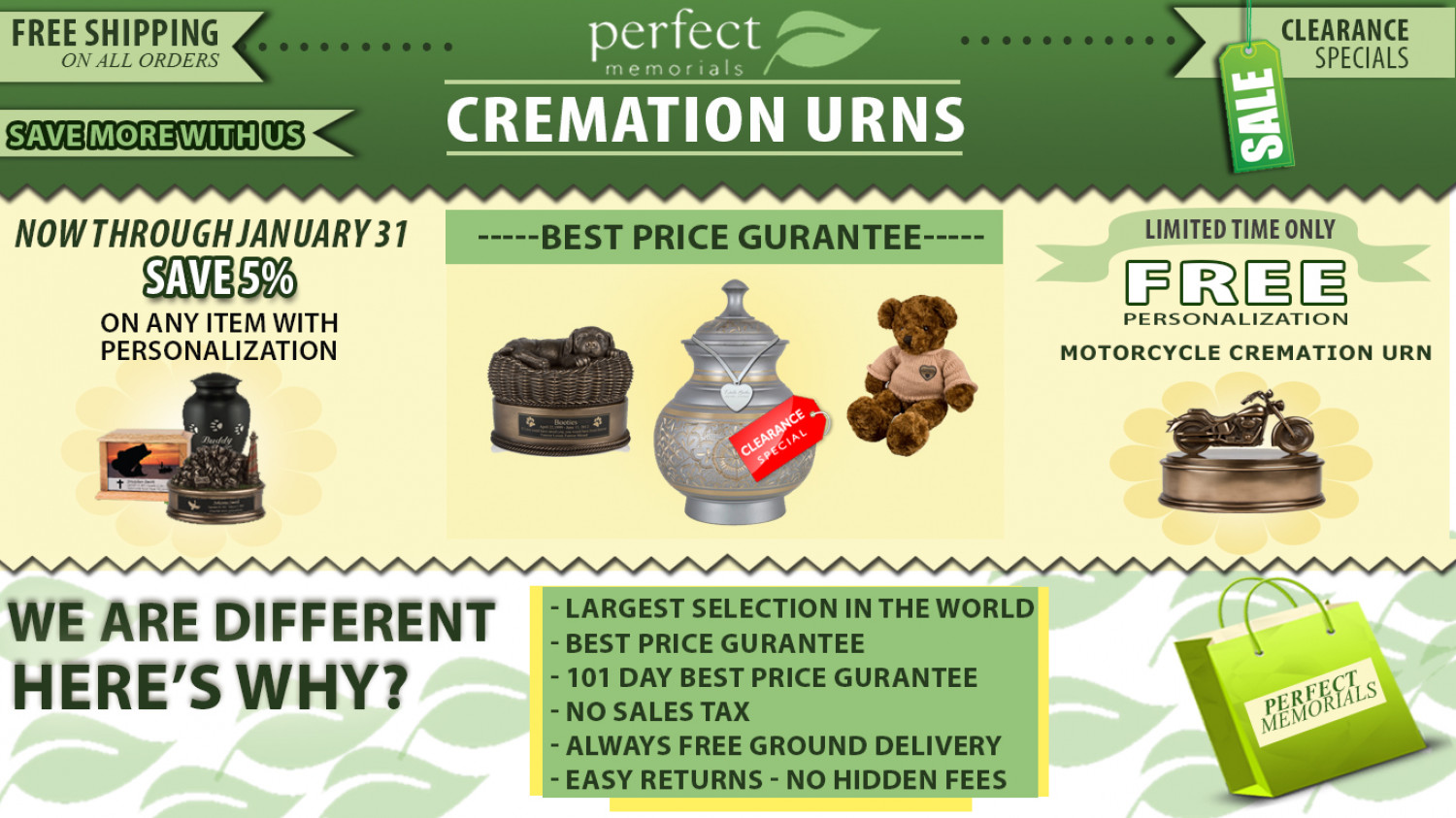 Perfect Memorials - Cremation Urns Infographic