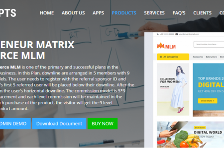 php readymade MATRIX ECOMMERCE MLM script Infographic