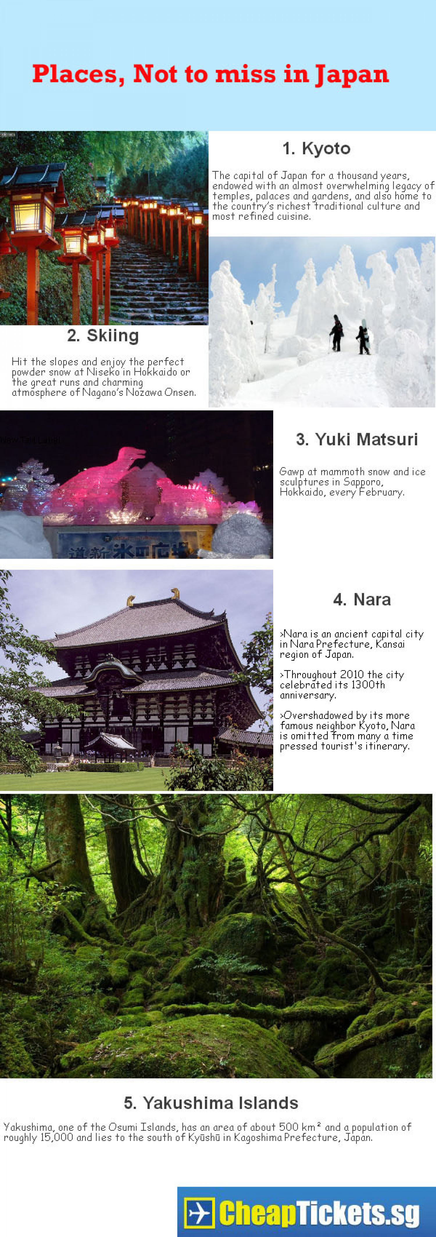 Places, Not to Miss In Japan Infographic