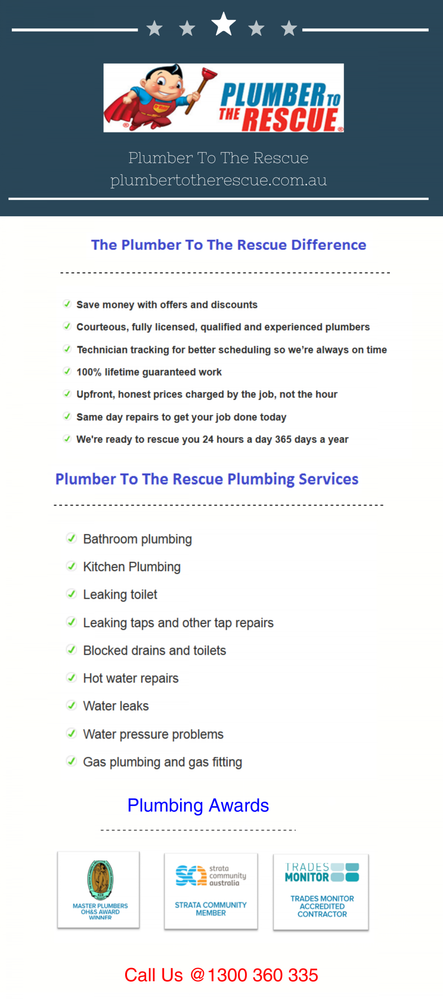 Plumber To The Rescue Plumbing Services