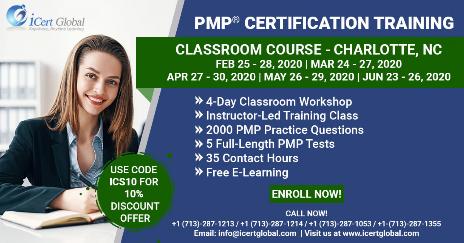 PMP Certification Training Classroom Course in Charlotte, NC Infographic