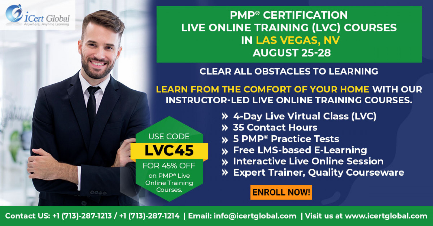 PMP Live Online Certification Training  (PMP Live Virtual Class) in Las Vegas, NV | iCert Global Infographic