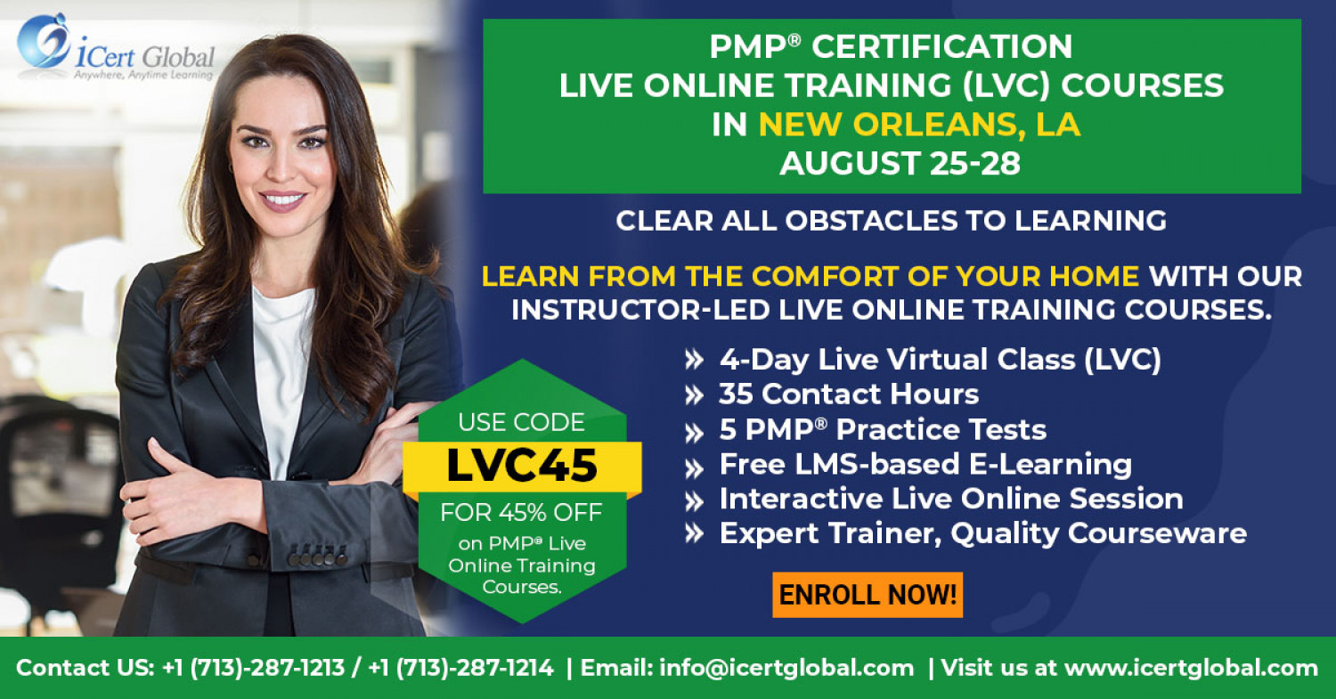 PMP Live Online Certification Training (PMP Live Virtual Class) in New Orleans, LA | iCert Global Infographic