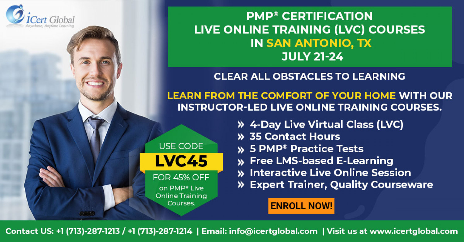 PMP Live Online Certification Training (PMP Live Virtual Class) in San Antonio, TX| iCert Global Infographic
