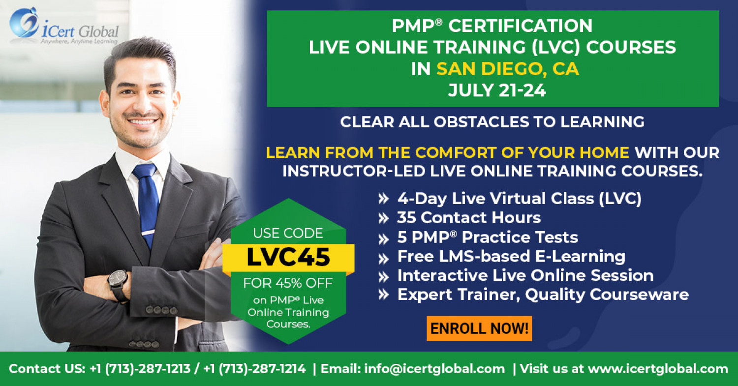PMP Live Online Certification Training (PMP Live Virtual Class) in San Diego, CA   iCert Global Infographic