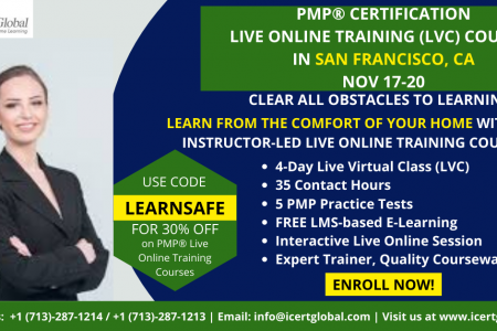 PMP Live Online Certification Training (PMP Live Virtual Class) in San Francisco, CA | iCert Global Infographic
