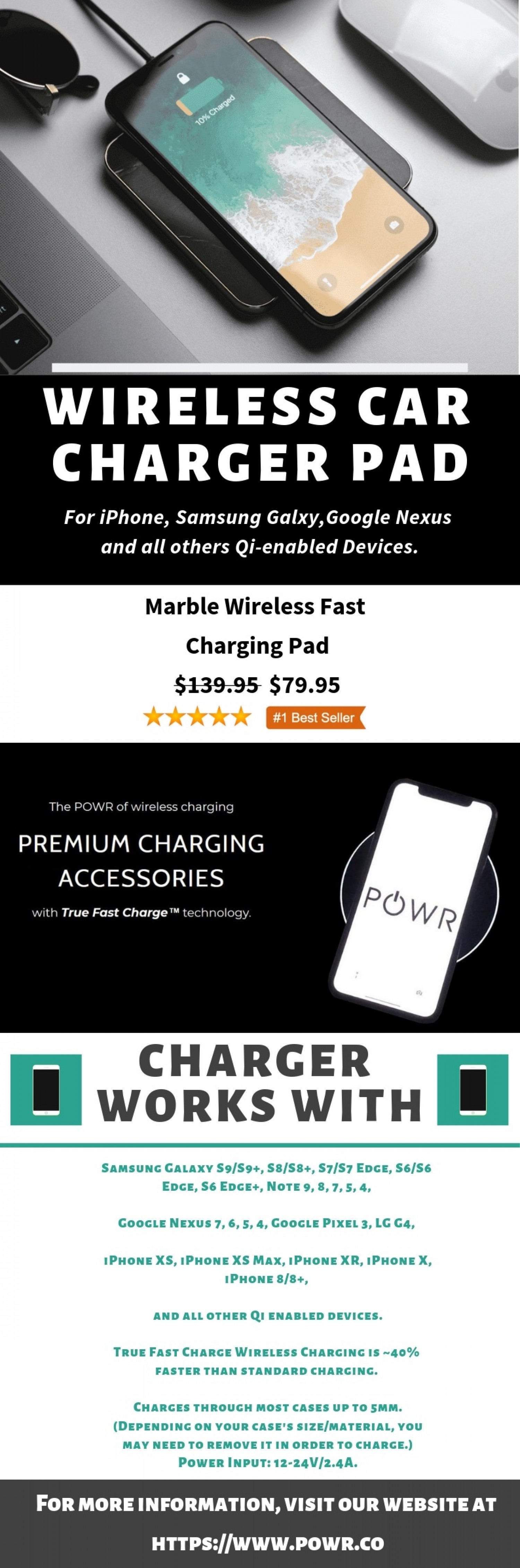 POWR - Fast Wireless Car Charger Pad Infographic