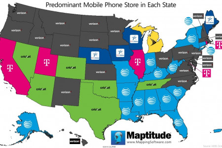 Predominant U.S. Mobile Retailer by State Infographic