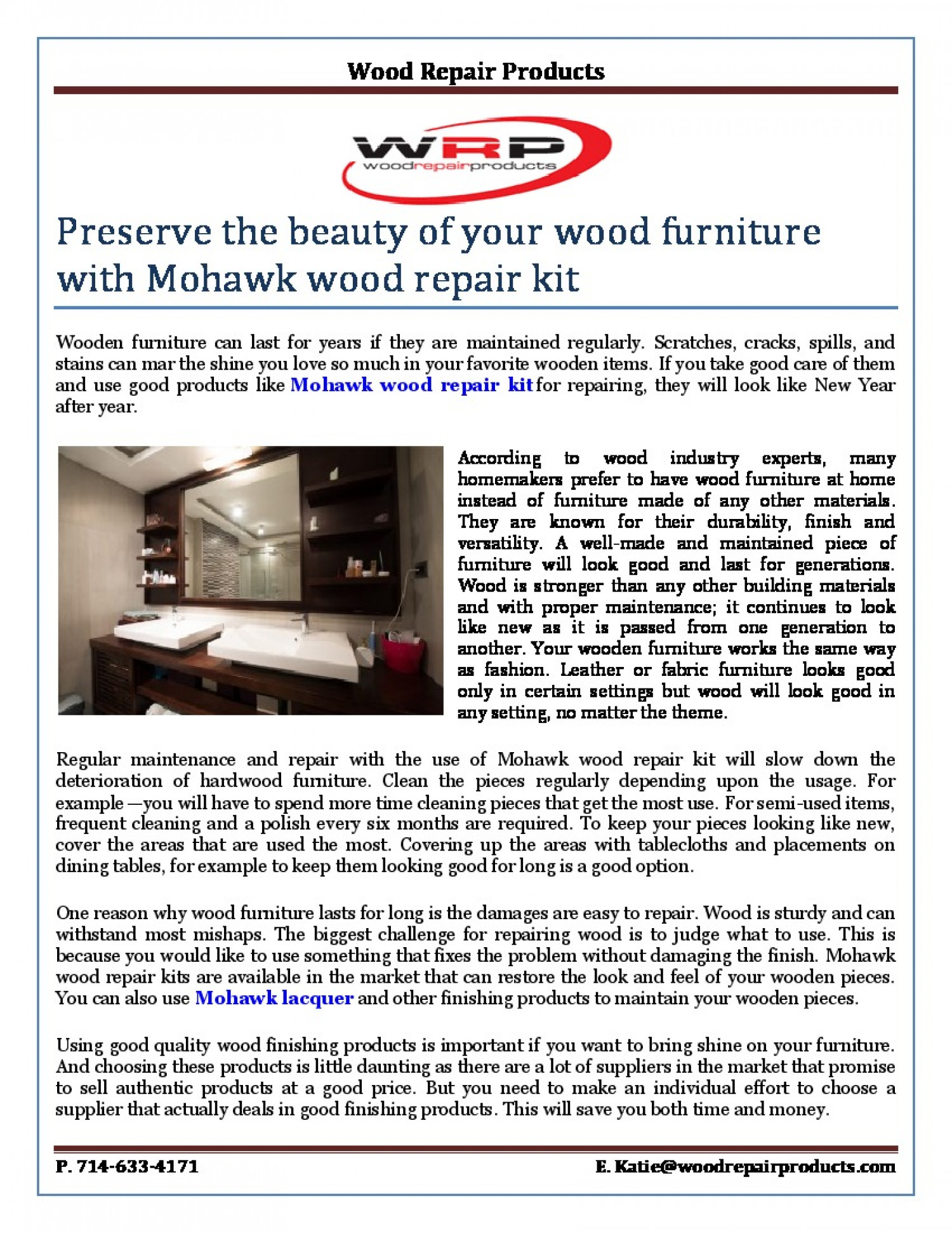 Preserve the beauty of your wood furniture with mohawk wood repair kit Infographic