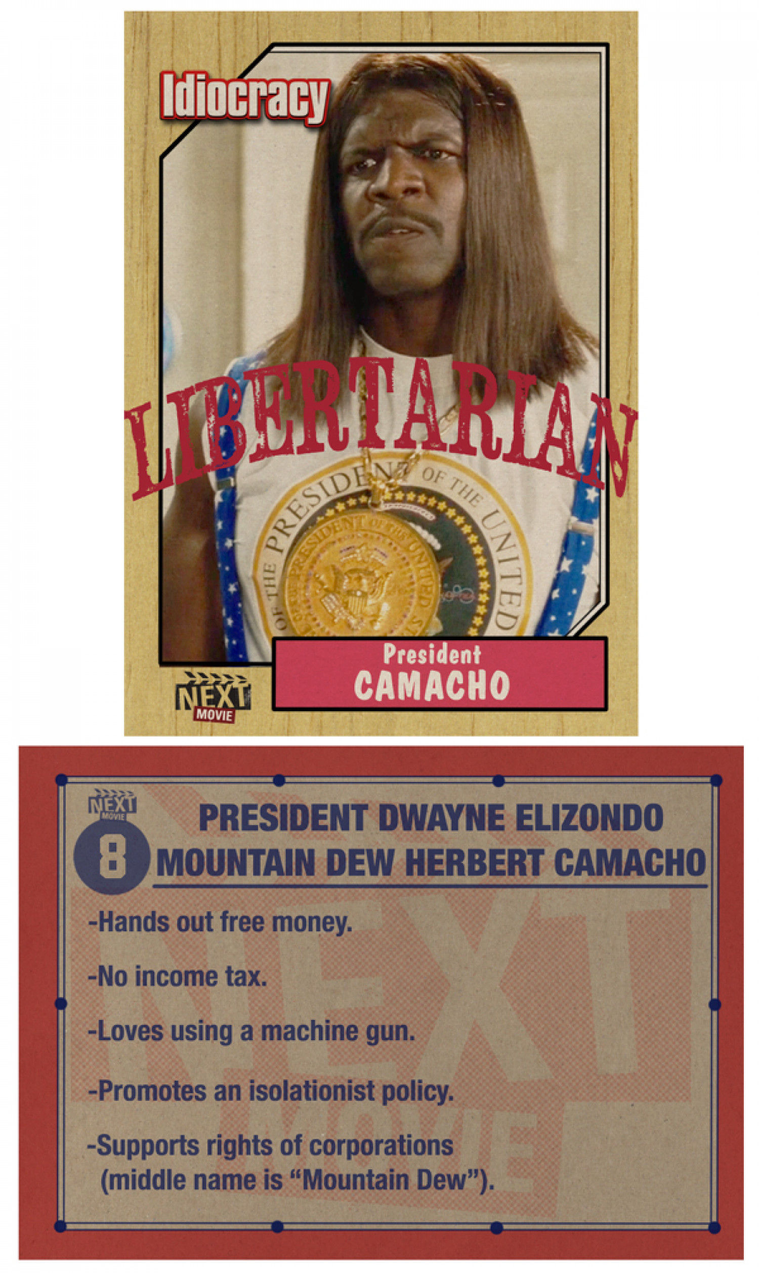 President Camacho Trading Card Infographic
