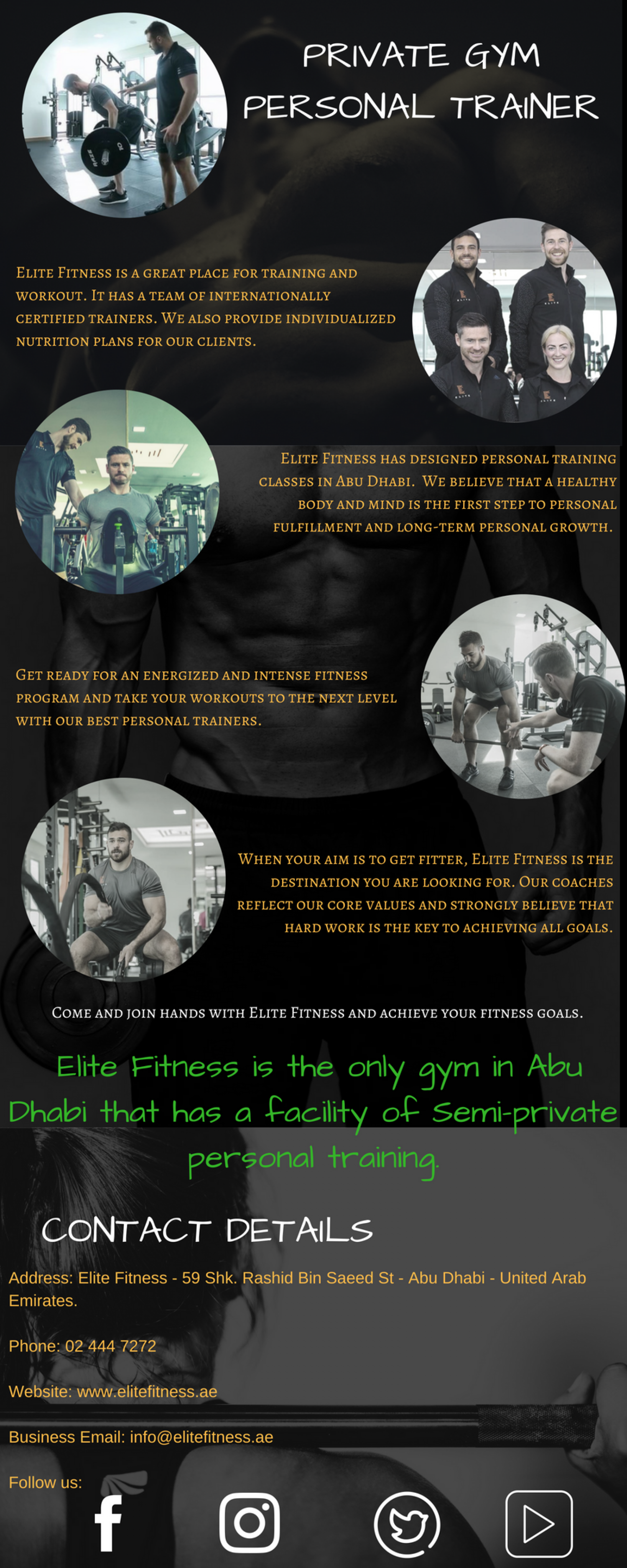 Private Gym Personal Trainer Infographic
