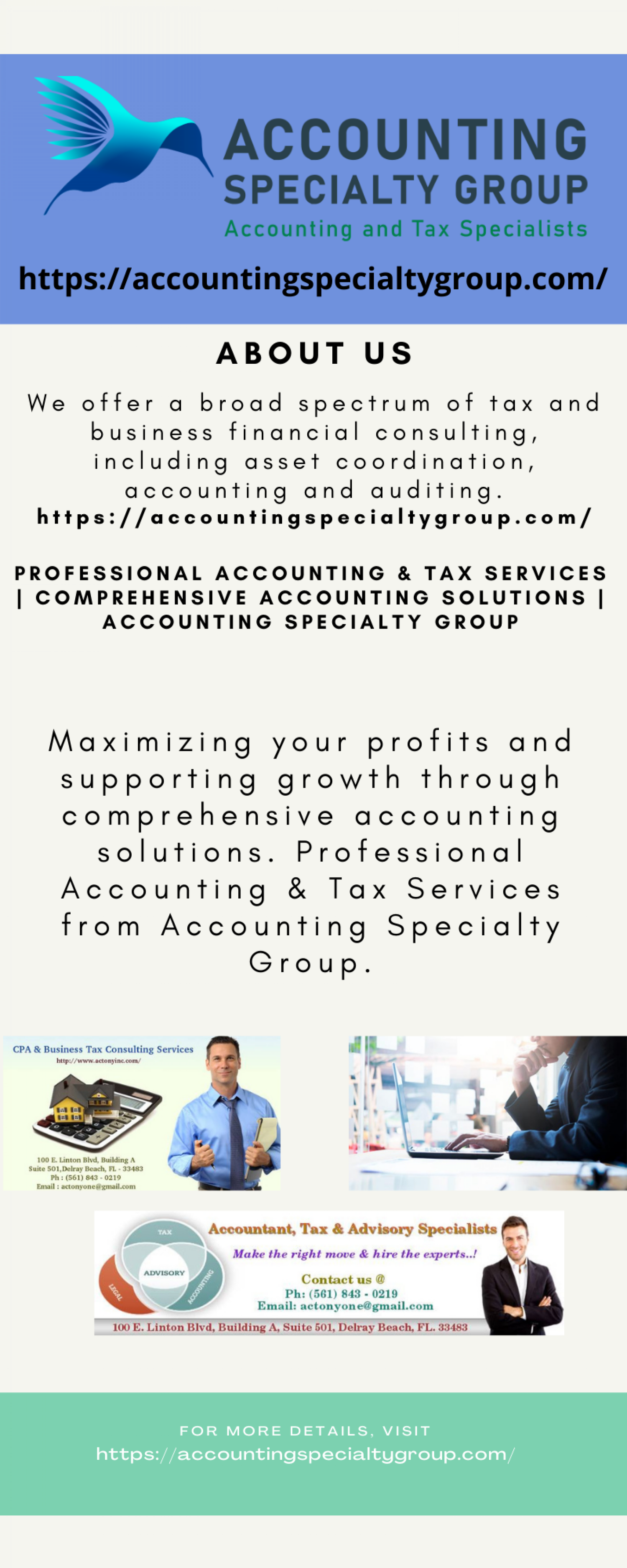 Professional Accounting & Tax Services   Comprehensive Accounting Solutions   Accounting Specialty Group Infographic