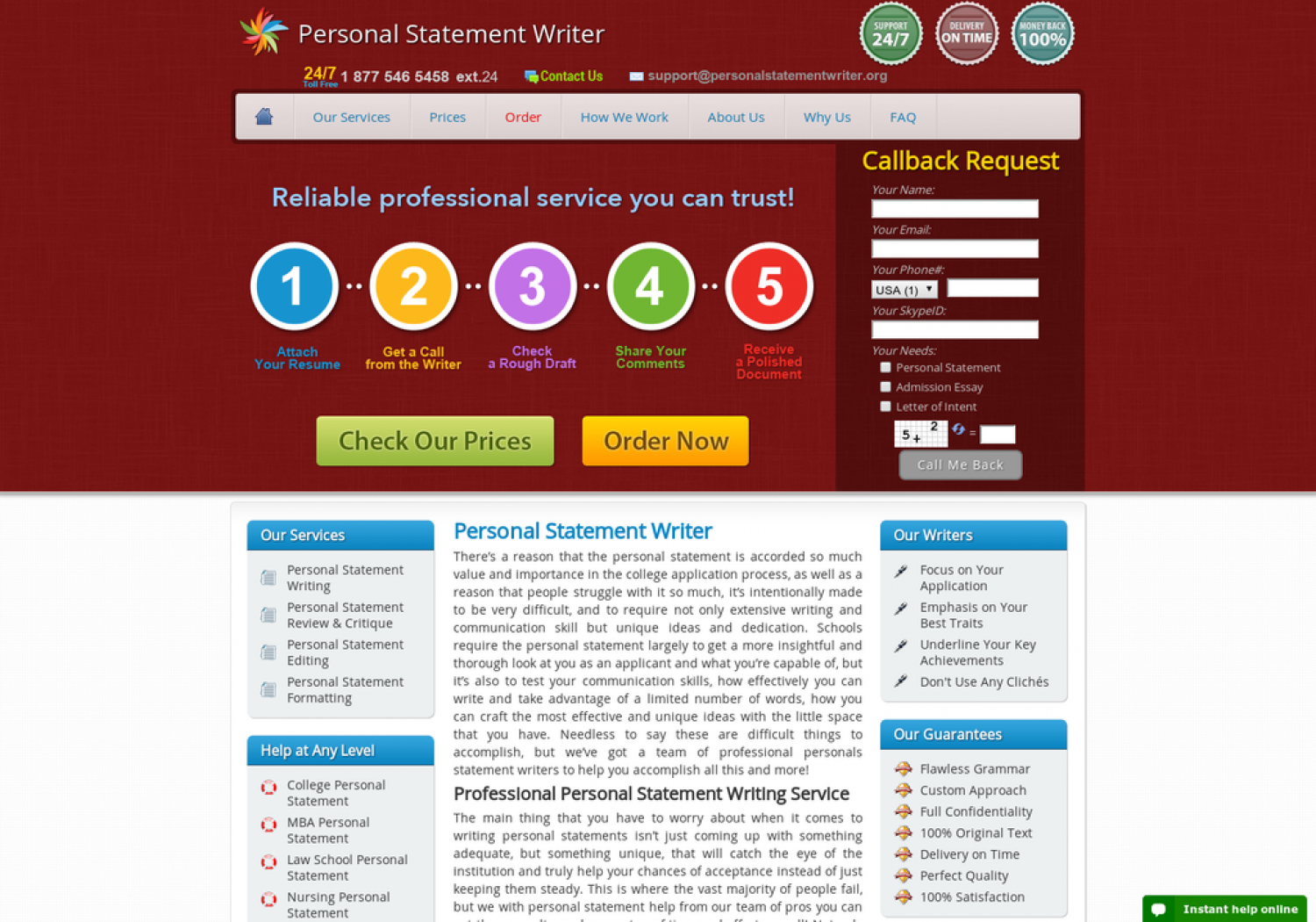Professional Personal Statement Writer Infographic
