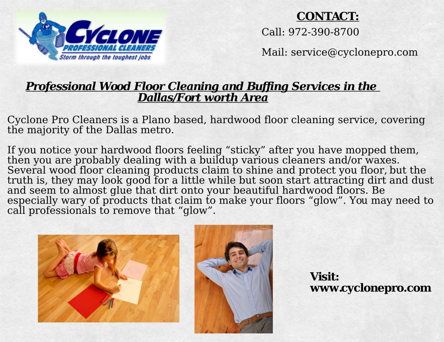 Professional Wood Floor Cleaning And Buffing Services In The Dallas Fort Worth Area Infographic