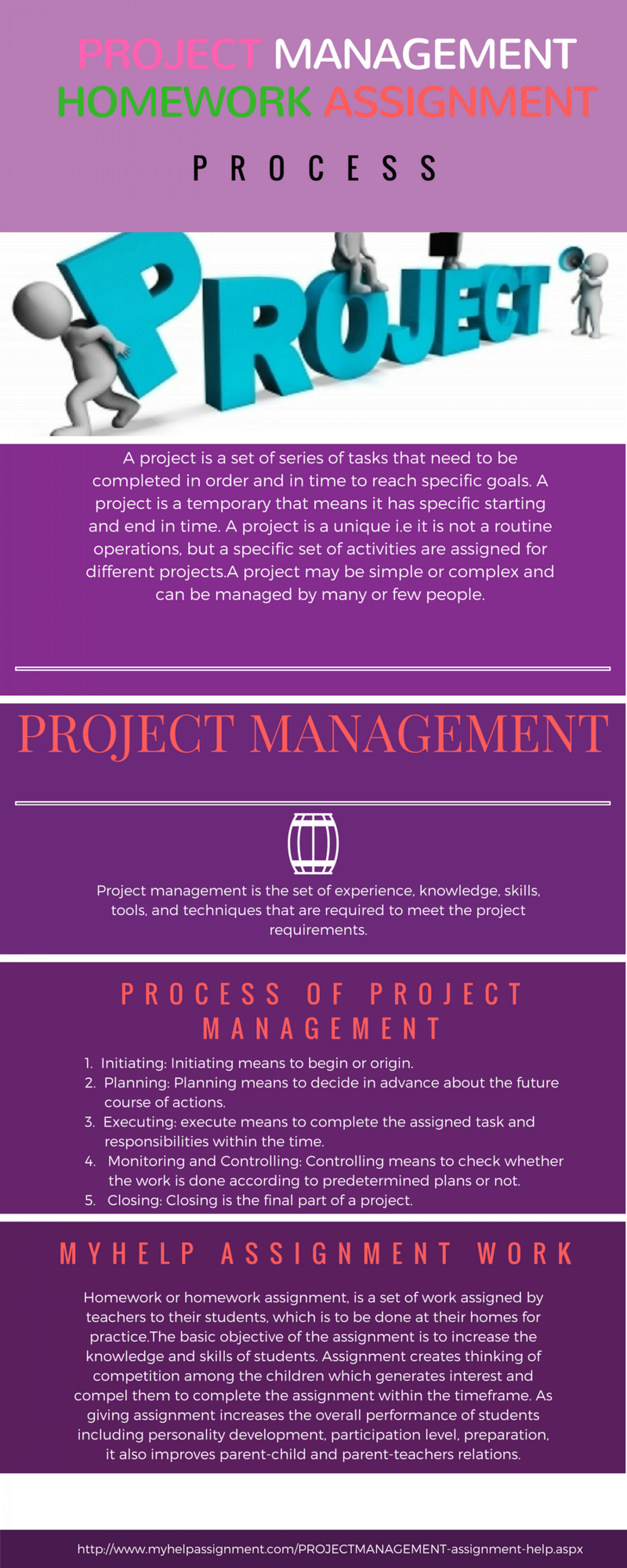 Project Management homework assignment Infographic