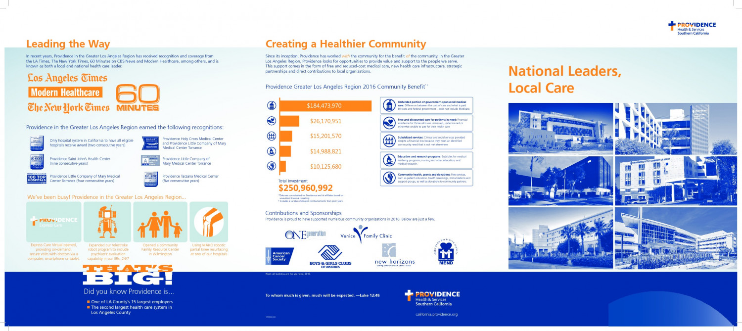 Providence Health System in Southern California. Infographic
