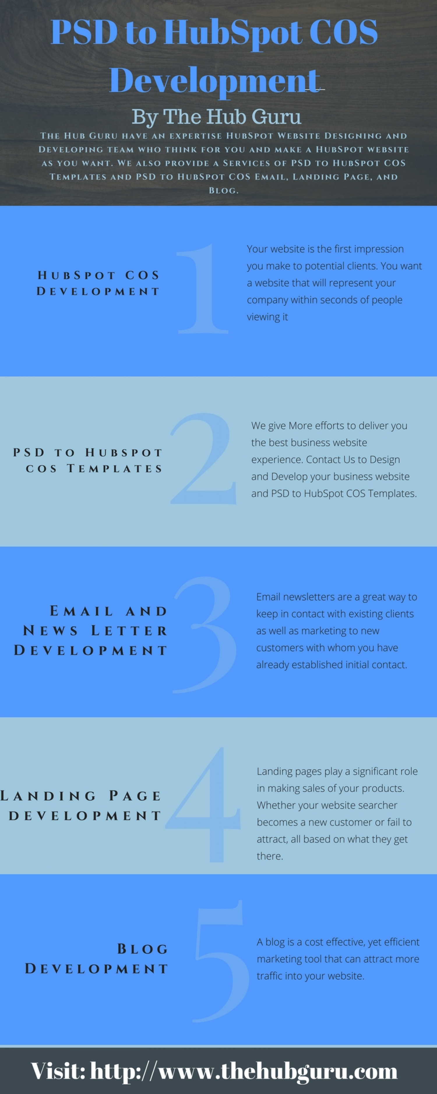 PSD to Email | PSD to Blog | PSD to Landing page | PSD to COS Templates | The Hub Guru Infographic