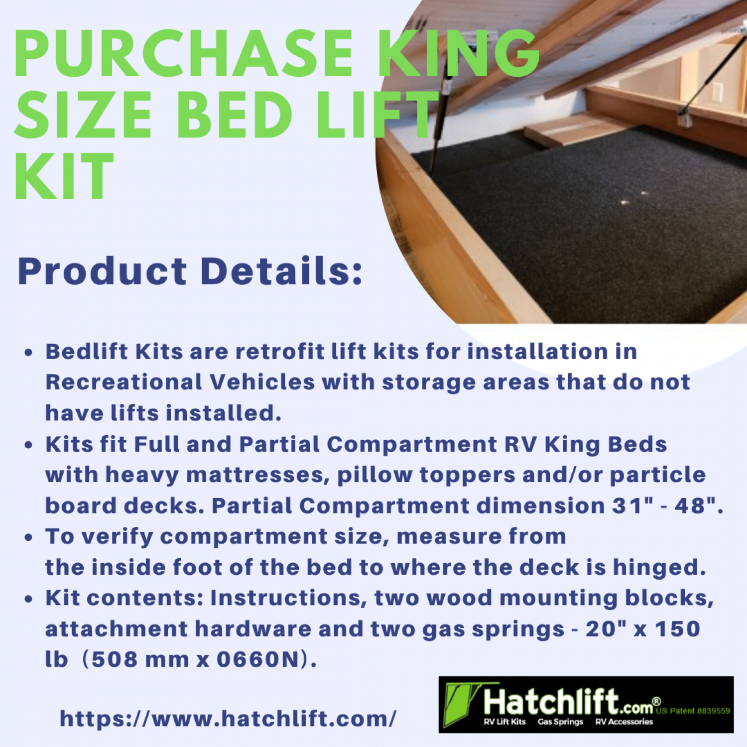 Purchase King Size Bed Lift Kit Infographic