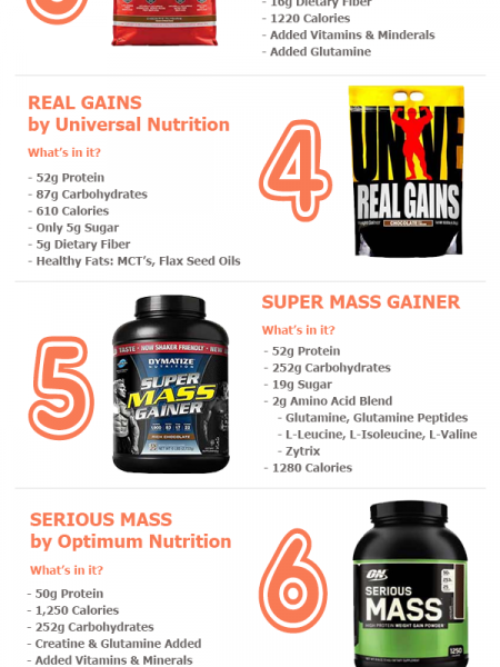 Put on Size with These Top 10 Mass Gainers (Updated Ranking) Infographic