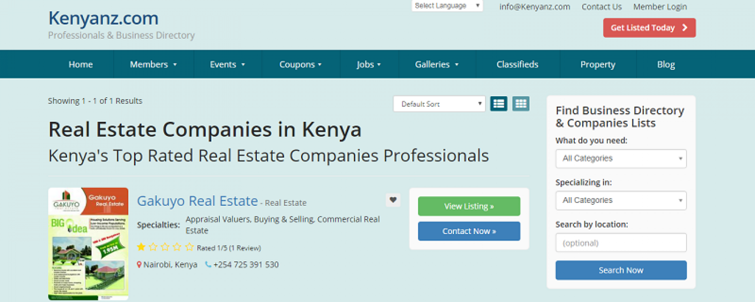 Real Estate Companies in Kenya Infographic