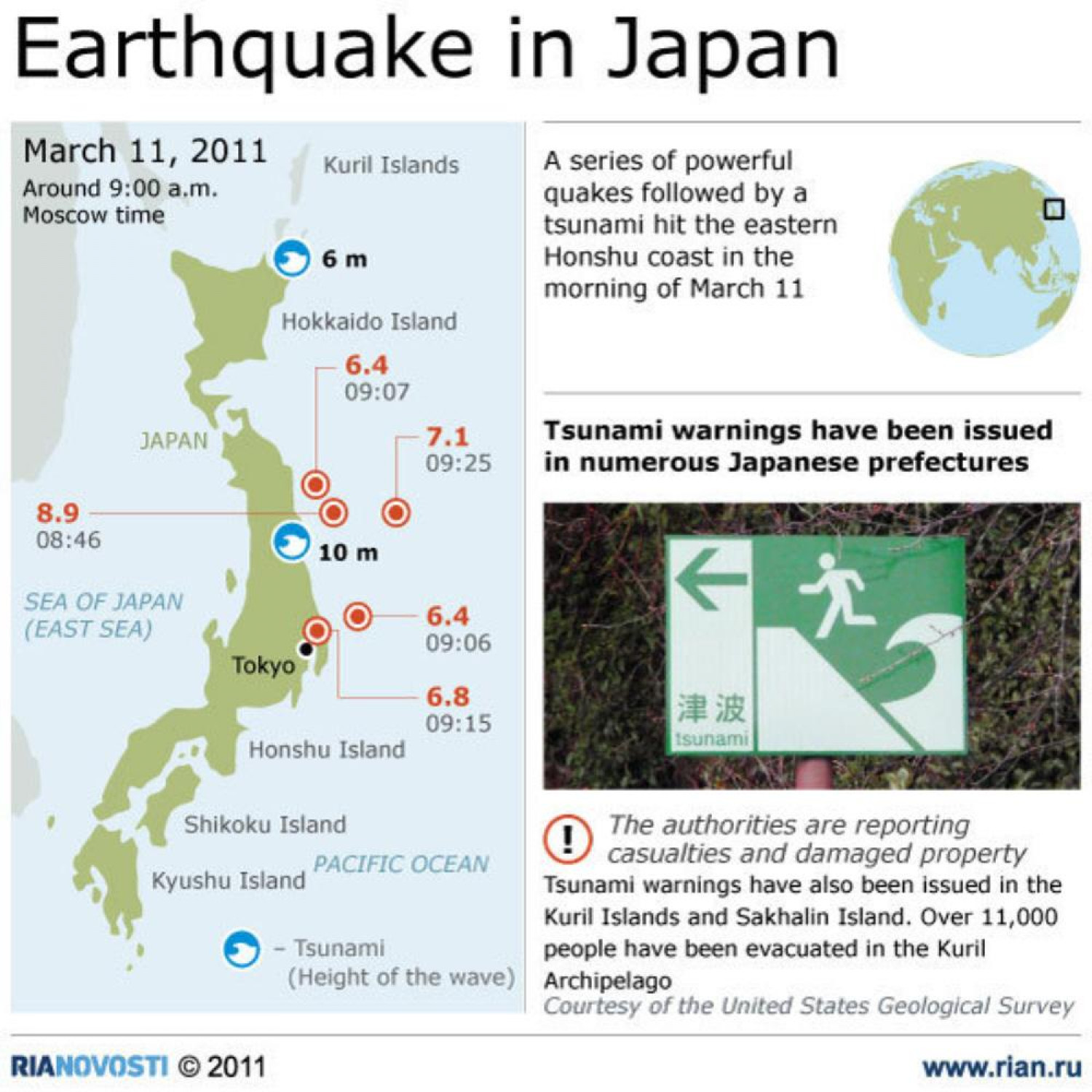 Recent series of quakes in Japan Infographic