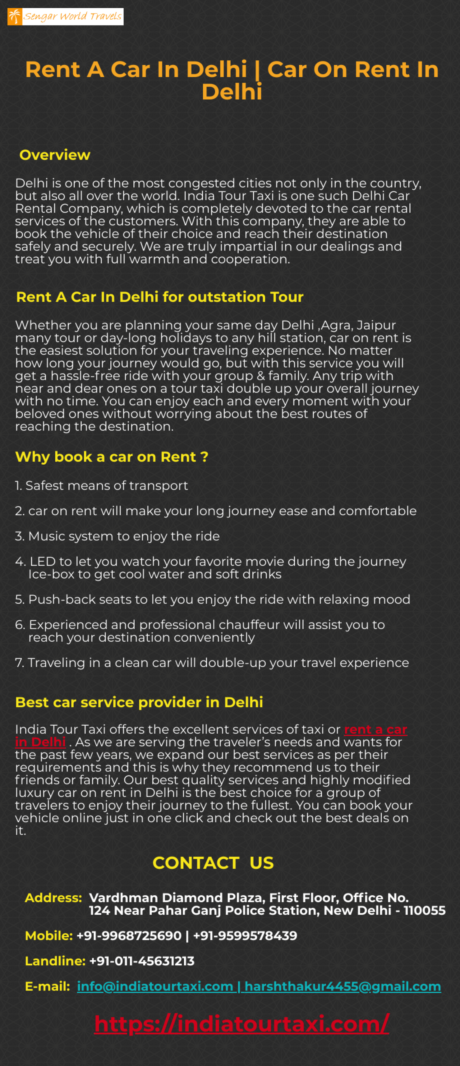 Rent A Car In Delhi | Car on Rent In Delhi Infographic