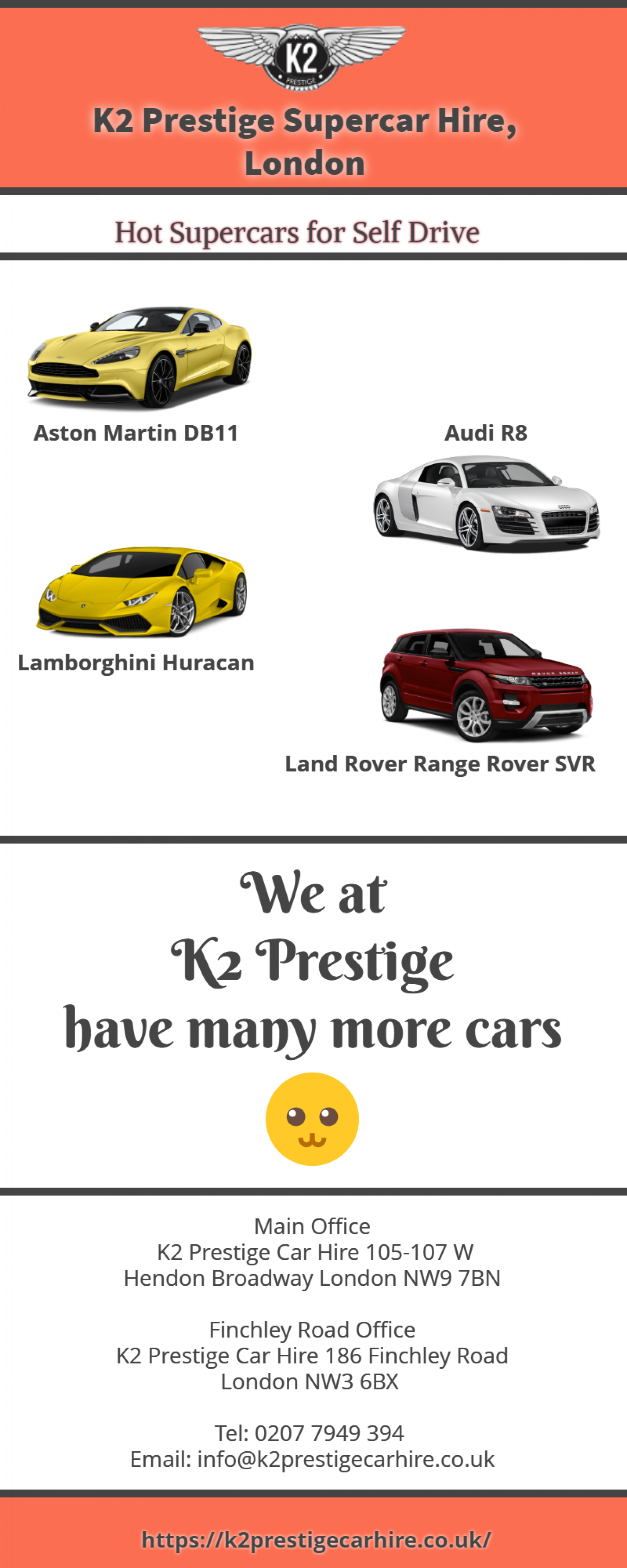 Rent a supercar from K2 Prestige for an awesome self-drive experience Infographic