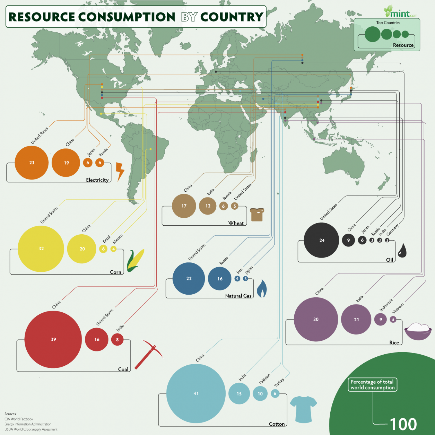 Resource Consumption by Country  Infographic