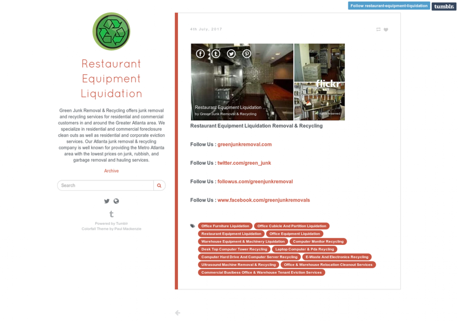 Restaurant Equipment Liquidation Removal & Recycling  Infographic