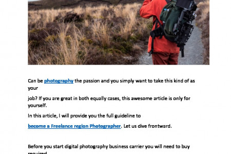 Road to become a freelance Photographer  Infographic