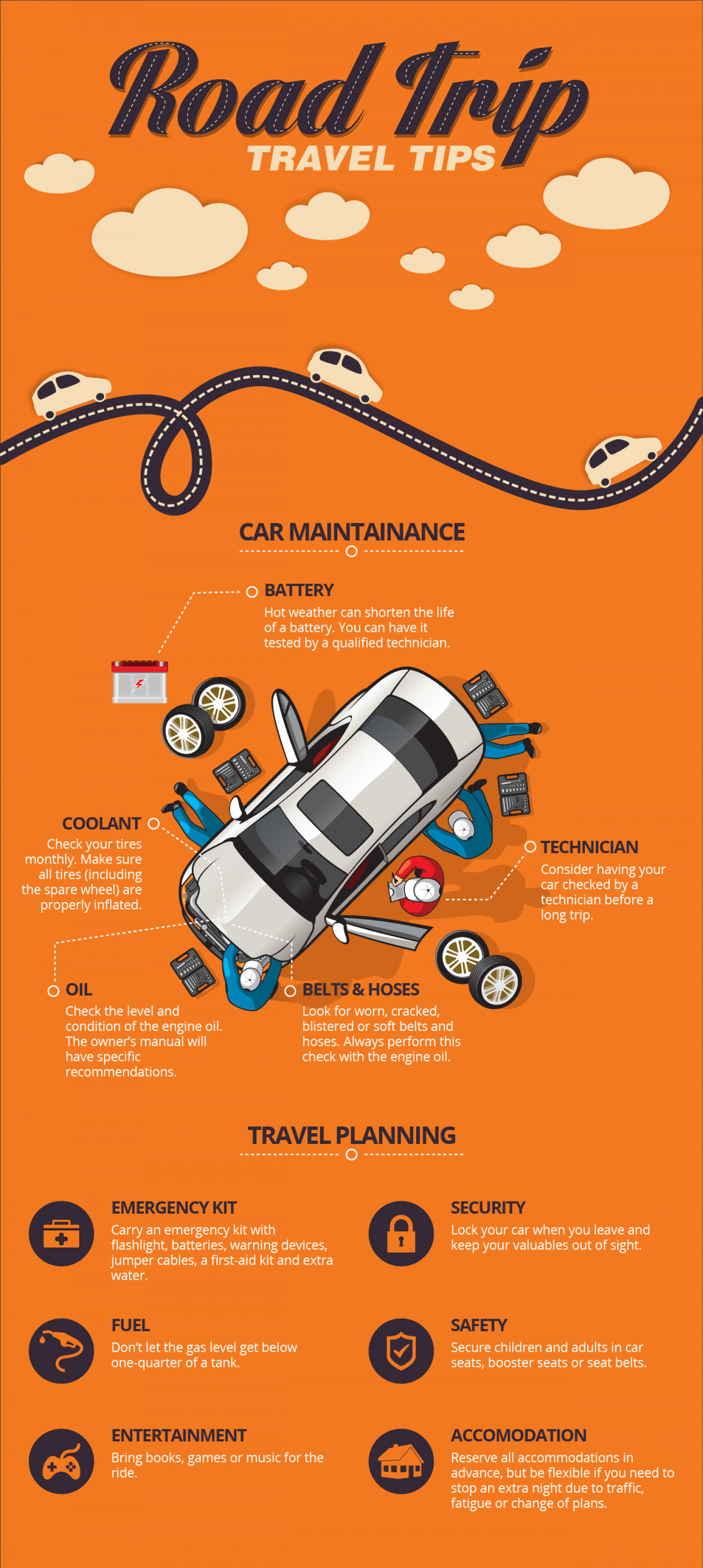 Road trip tips and instructions Infographic