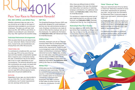 Run the 401K Calendar Infographic