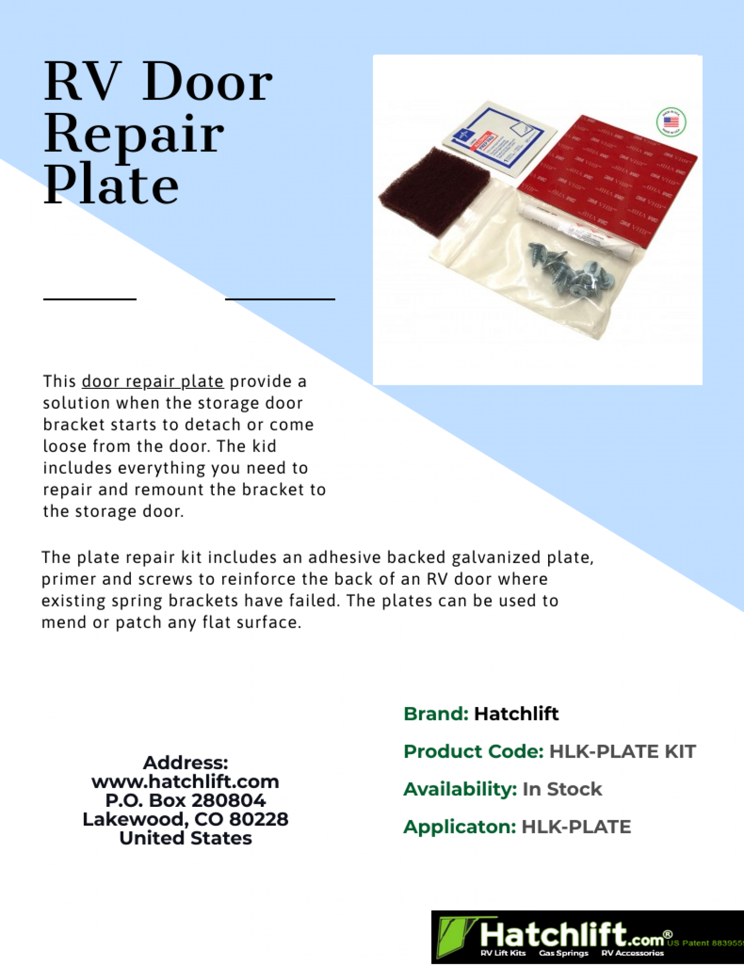 RV Door Repair Plate by HatchLift Infographic