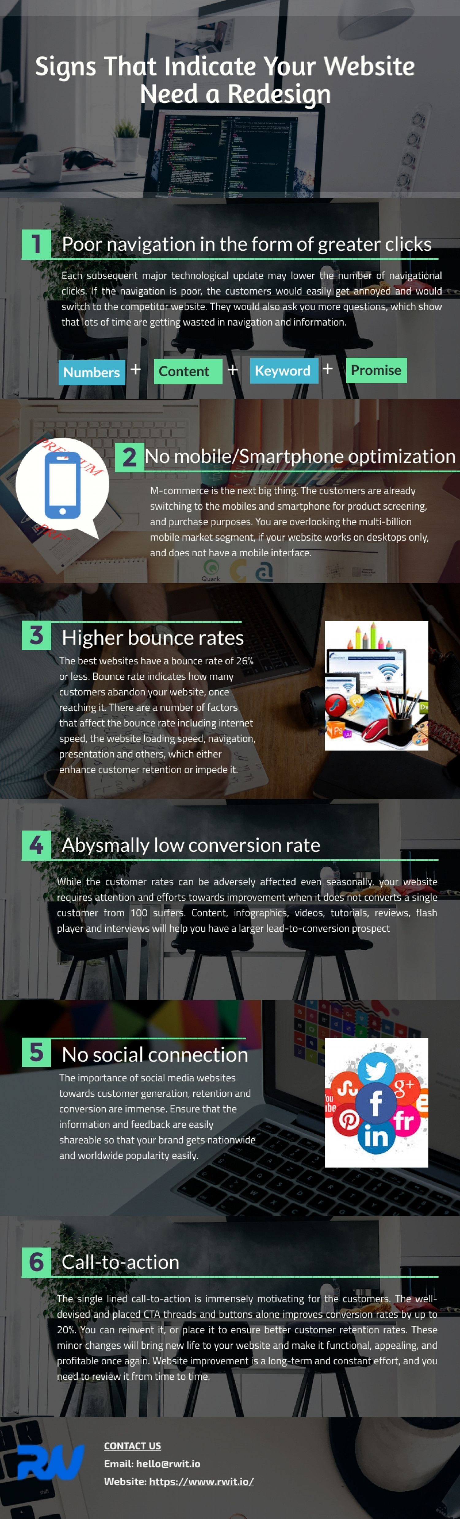 Signs That Indicate Your Website Need a Redesign :  RW Infotech Infographic