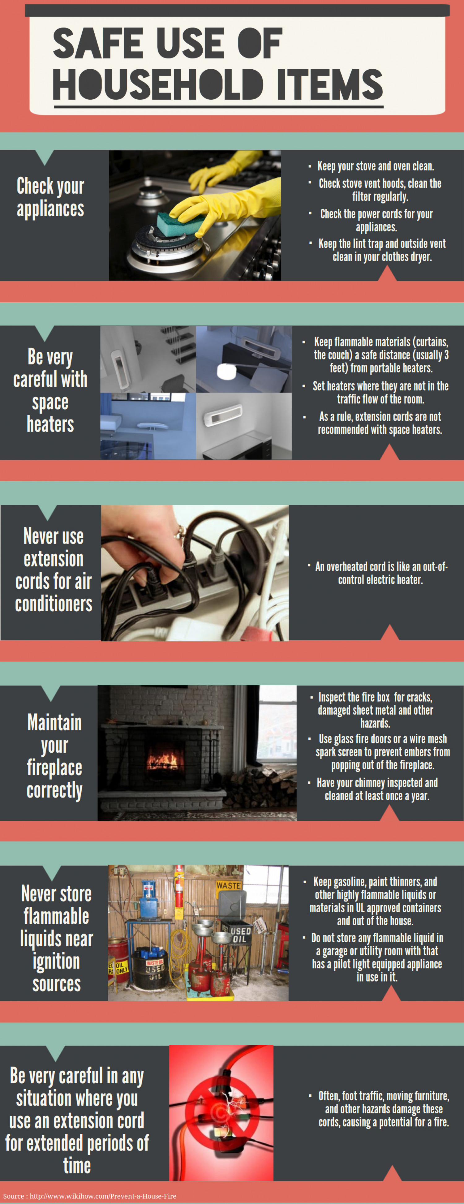 Safe Use Of HouseHold Items Infographic